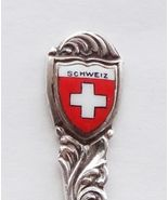 Collector Souvenir Spoon Switzerland Schweiz Swiss Flag Porcelain Enamel... - $12.99