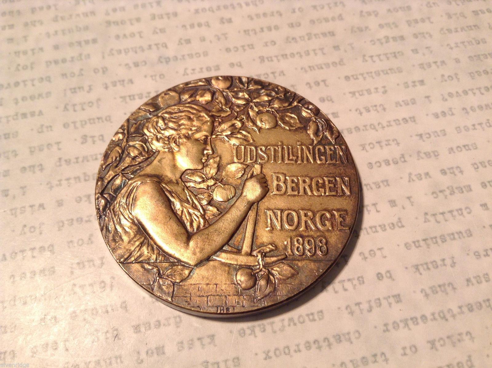 1898 Norway Udstillingen Bergen Norge Commemorative Bronze Medal Coin Rare
