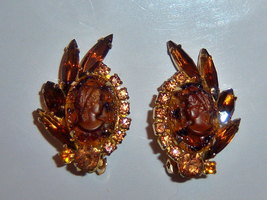 Vintage Glass Cameo Earrings. Amber Colored Cameo Earrings. Navette Earr... - $40.00