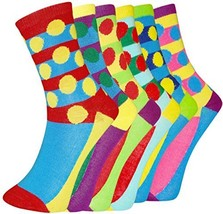 ICONOFLASH Casual Printed Bundle Crew Socks, Assorted Colors, Packs of 6 (Str... - $12.86