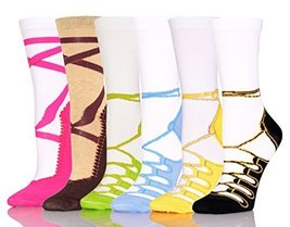 ICONOFLASH Casual Printed Bundle Crew Socks, Assorted Colors, Packs of 6 (Lac... - $12.86