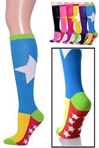 ICONOFLASH Casual Knee High Socks in Assorted Colors, 6 Pair Bundle Pack, (Su... - $17.81