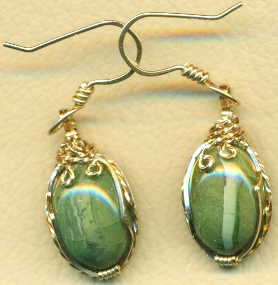 Green Opal Gold Wire Wrap Earrings 14