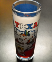 Texas Shot Glass Tall Style The Lone Star State Map on Red White and Blu... - $7.99