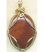 Red Flame Moss Agate Gold Wire Wrap Pendant 60 - $37.99