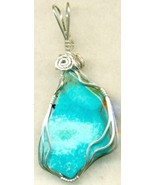 Turquoise Silver Wire Wrap Pendant 51 - $54.98