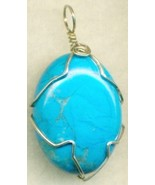 Turquoise Blue Howlite Silver Wire Wrap Pendant 28 - $54.98