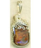 Australian Opal Silver Wire Wrap Pendant 12 - $34.99
