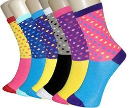 ICONOFLASH Casual Printed Bundle Crew Socks, Assorted Colors, Packs of 6 (Min... - $12.86
