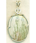 Lizard Stone Marble Silver Wire Wrap Pendant 29 - $34.99