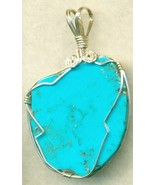 Turquoise Silver Wire Wrap Pendant 16 - $54.98