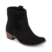 Lucky Brand Black Terra Booties Black Oiled Suede Leather Cowboy Western... - $57.42