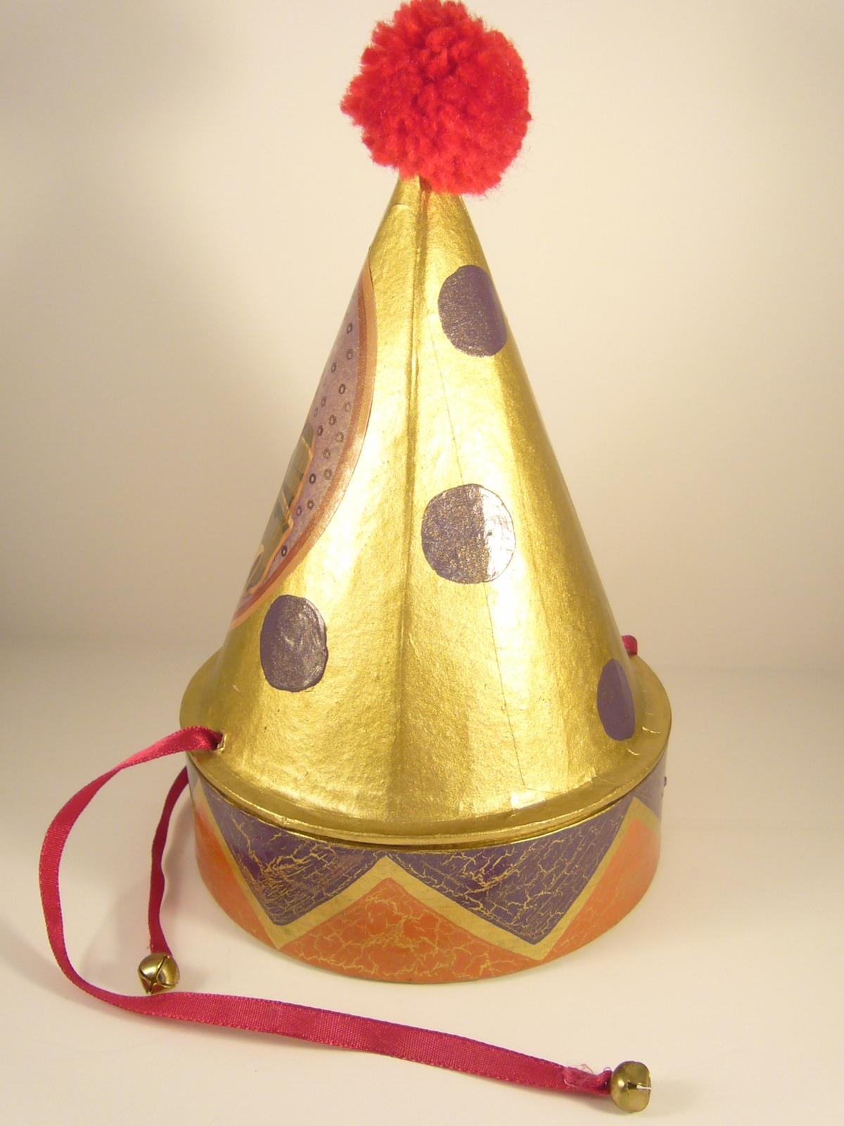"""Vintage """"Dunce Cap"""" One of a Kind Art Piece Christmas Decoration Papier Mache (#"""