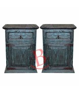 Two Turquoise Scrape Nightstands Solid Wood Western Lodge Cabin Bedside ... - $574.19