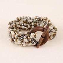 Cream & Metallic Bracelet Pink House Stretch Beads New Wood Toggle Fashion - $9.95
