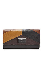 Fossil Neutral Multi Dawson Colorblock Flap Leather Snap Closure Clutch  - $169.99