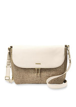 Fossil Metallic Zip Closure Metallic Leather Gold-Tone Hardware Crossbody - $325.99