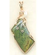 Green Jasper Copper Wire Wrap Pendant 43 - $22.34