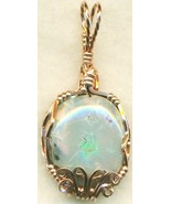 Australian Opal Copper Wire Wrap Pendant 65 - $22.34