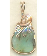 Peruvian Blue Opal Copper Wire Wrap Pendant 40 - $22.34
