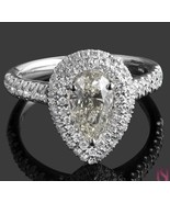 1.69ct Pear Shaped Diamond Double Halo Set Engagement Ring 18k White Gol... - $3,167.01