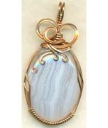 Blue Lace Agate Copper Wire Wrap Pendant 18 - $22.34