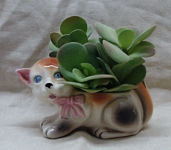 Vintage Ceramic Figural Calico Kitten Planter // Home Decor - ₨542.78 INR