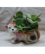 Vintage Ceramic Figural Calico Kitten Planter // Home Decor - $10.05 CAD