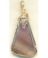 Purple Fluorite Copper Wire Wrap Pendant 62 - $22.34