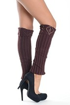 Women's Ribbed Cable Knit Leg Warmers with Rhinestone Detail, Coffee - $11.87