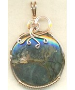 Amethyst Sage Agate Copper Wire Wrap Pendant 53 - $27.93