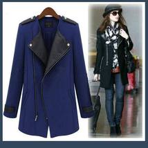 Black Leather Collar Asymmetric Front Zip Winter Wool Thigh Length Coat  - $91.95