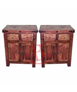 Two Rustic Red Rubbed Nightstands or Phone Chests Solid Wood Western Lod... - $688.05