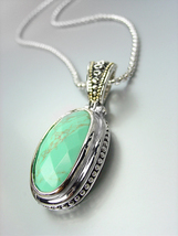 GORGEOUS Faceted Turquoise Stone Silver Dots Scallop Pendant Chain Necklace - €25,54 EUR