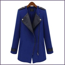 Black Leather Collar Asymmetric Front Zip Winter Wool Thigh Length Coat  image 2