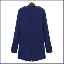 Black Leather Collar Asymmetric Front Zip Winter Wool Thigh Length Coat  image 3