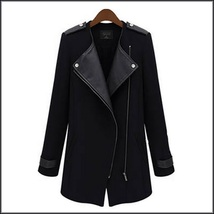 Black Leather Collar Asymmetric Front Zip Winter Wool Thigh Length Coat  image 4