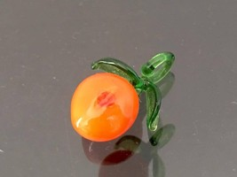 Vintage Jewelry Orange & Green Glass Fruit Peach Charm Pendant - $10.00