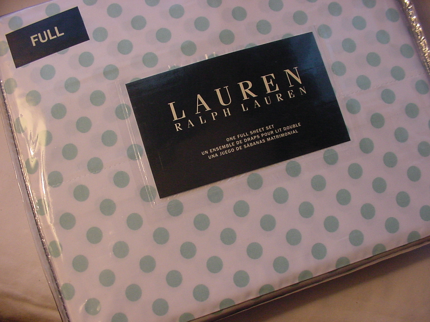 Ralph Lauren Aqua Polka Dots on White Sheet Set Full