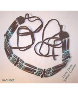 Three Row Hair Pipe Buffalo Bone & Turquoise Na... - $37.13