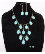 Turquoise on Silver Plated Cobochons Bib Neckla... - $44.55