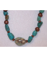 Turquoise Stone and Copper Bead Necklace - Desi... - $38.61