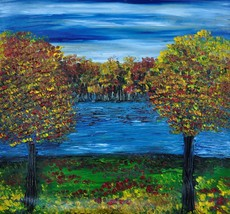 Original Oil Painting - An Evening At The Lake - $220.00