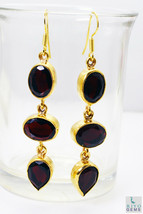 pleasing Ruby CZ Gold Plated Red Earring Natural general US gift - $14.84