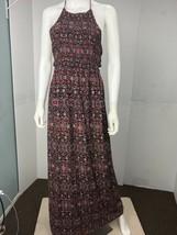 Forever 21 Women's Large Black Floral Red Long Halter Dress - $19.78