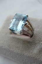 Artisan Styled VTG  925 Sterling AQUAMARINE 14K gold plated Ring size 7-... - $361.35