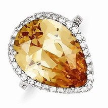 STERLING SILVER POLISHED PEAR SHAPED CZ RING- MODERN - SIZE 8 - £34.27 GBP