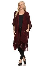ICONOFLASH Women's Fringed Poncho Sweater Shawl, Burgundy - $49.49