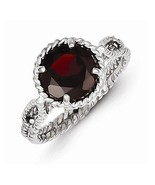STERLING SILVER POLISHED  TWISTED CIRCLE GARNET RING - SIZE 6 - $48.78