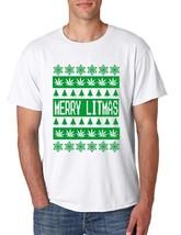 Merry Litmas Men's Tee Shirt Ugly Christmas Sweater - $18.00
